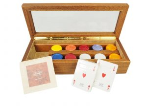 Luxury Italian Hand Crafted Agresti Poker Set in Handmade Briarwood Case Rare