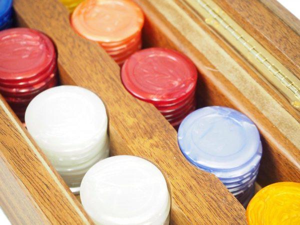 Luxury Italian Hand Crafted Agresti Poker Set in Handmade Briarwood Case Rare