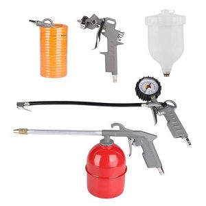 Air Compressor Accessory Tool Kit 5pc Gravity Spray Blow Oil Gun Inflator Hose